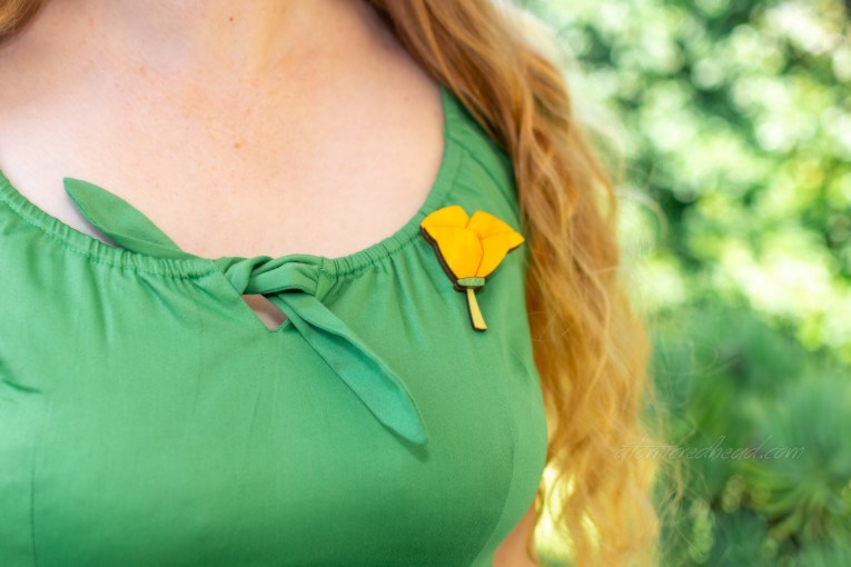 Close-up of the tie detail on the peasant top.