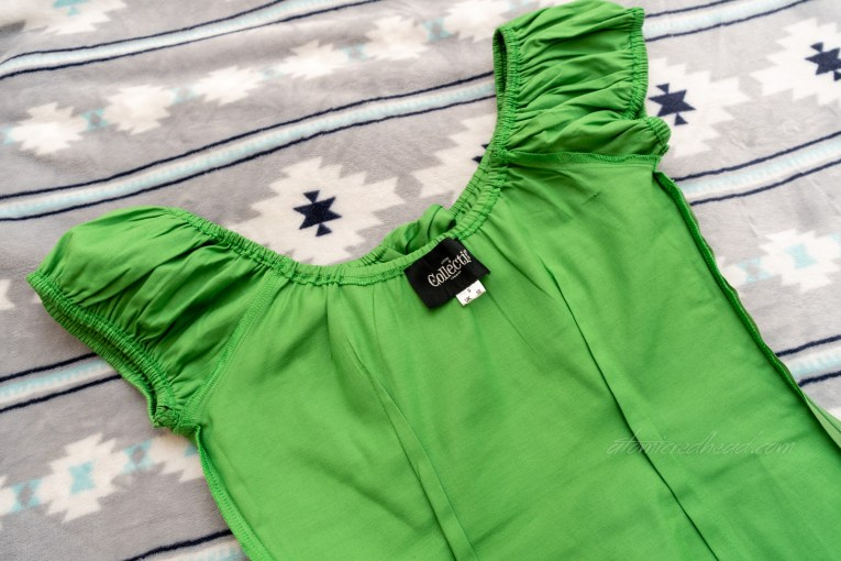Green peasant top inside out to show construction detail.