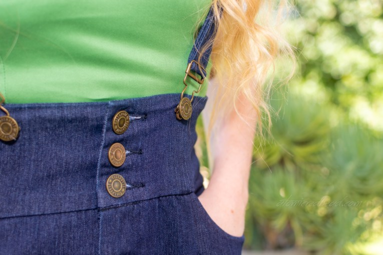 Close-up of the button detail on the skirt.