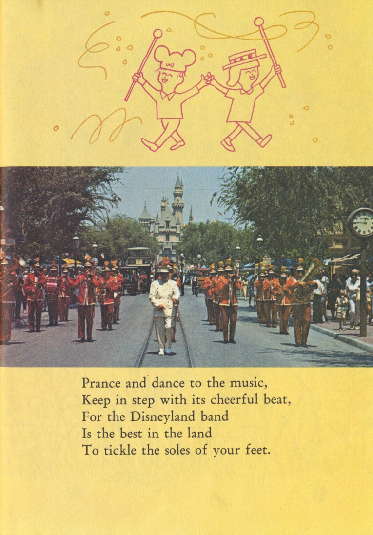 "Illustration of a two children, one wears Mickey ears, another a straw boater, the each carry batons. Below them a photo of the Disneyland Band walking down Main Street with the castle in the background. Text reads ""Prance and dance to the music, Keep in step with its cheerful beat, For the Disneyland band Is the best in the land To tickle the soles of your feet."""