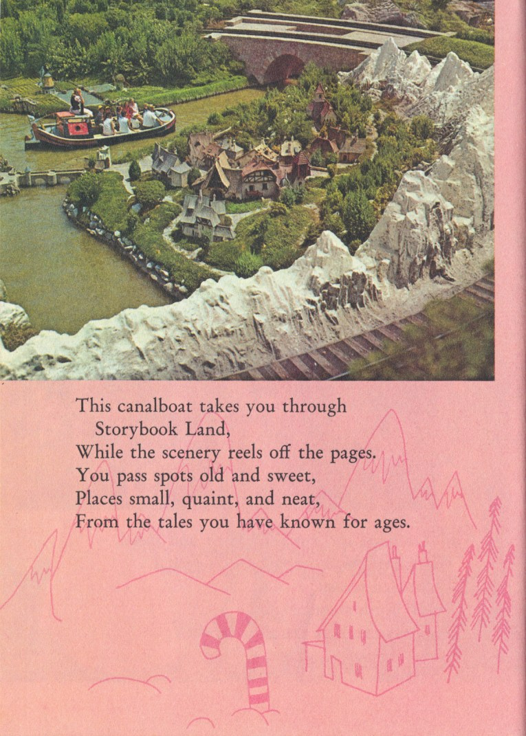 "Photo of a boat going past miniatures of various locations from stories. Text reads ""This canalboat takes you through Storybook Land, While the scenery reels off the pages. You pass spots old and sweet, Places small, quaint, and neat, From the tales you have known for ages."""