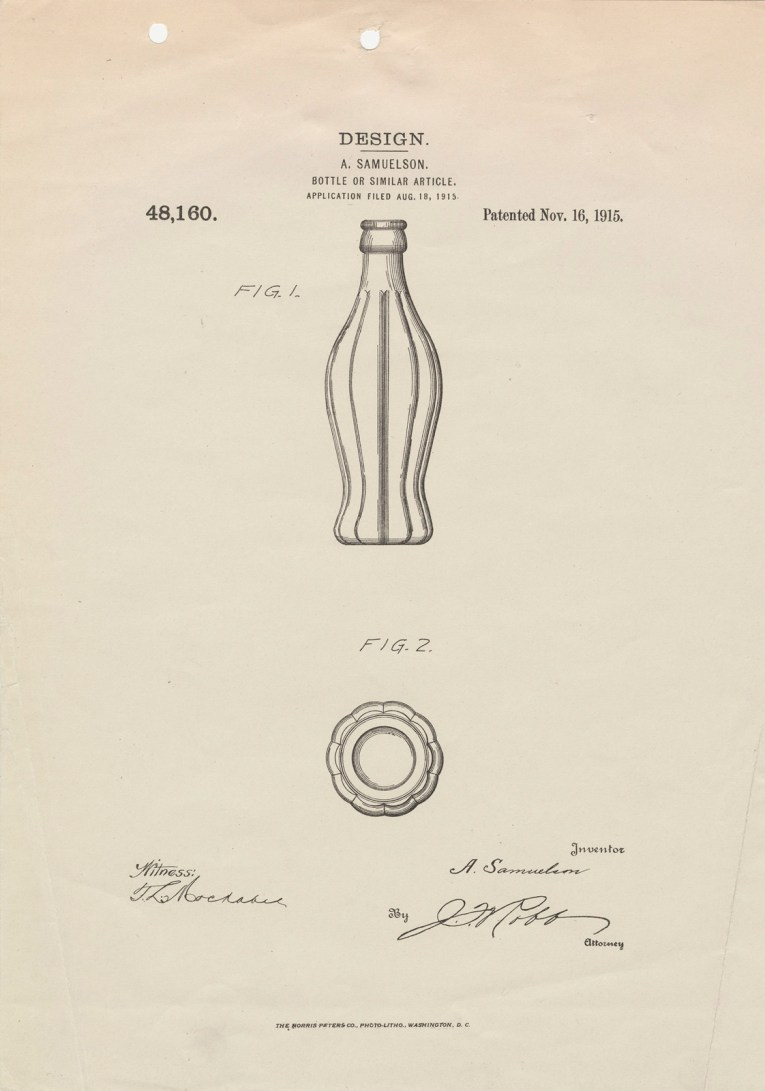 "A sheet of white paper with two illustrations, a curved bottle from the side, and another view of it from the top. Text across reads ""Design A. Samuelson. Bottle or Similar Article. Applied Filed Aug 18, 1915. 48,160. Patented Nov. 16 1915."""