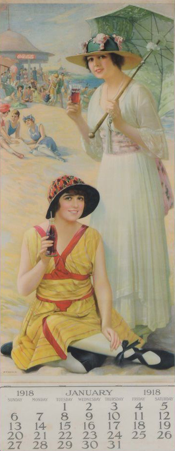 Two women in 1920s beach attire, one sits holding a bottle of Coke, the other stands holding a parasol, with a glass of Coke. A calendar for January is below.