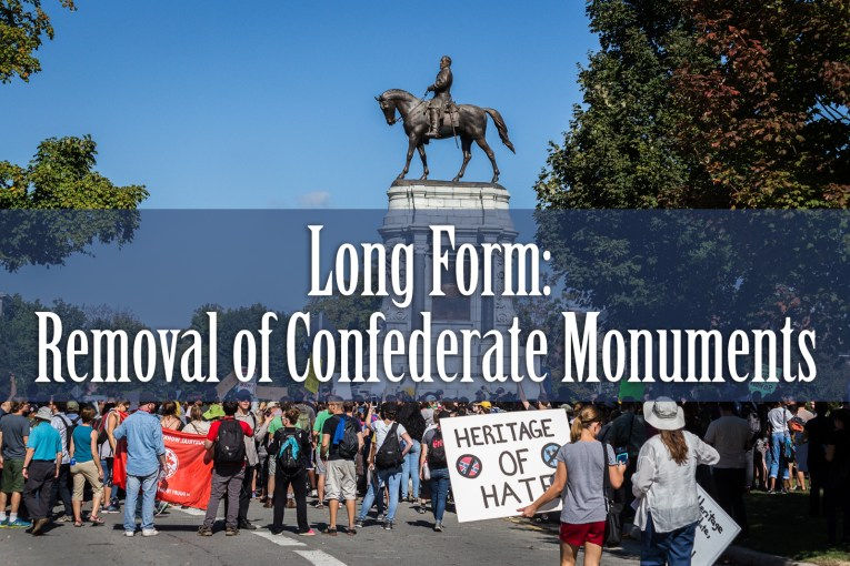 Protest at a Confederate monument.