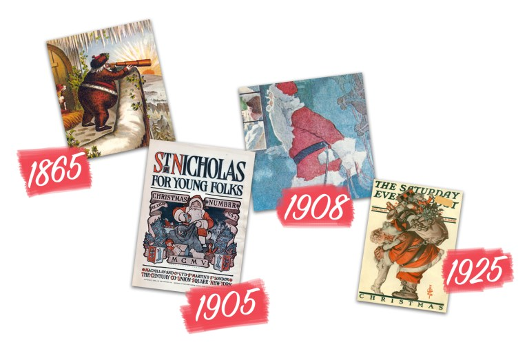 Collage of various Santa illustrations of him wearing red from the 1800s and 1900s