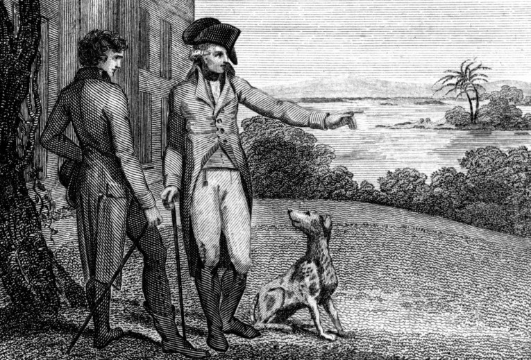 Illustration of George Washington standing with another man, and a dog.