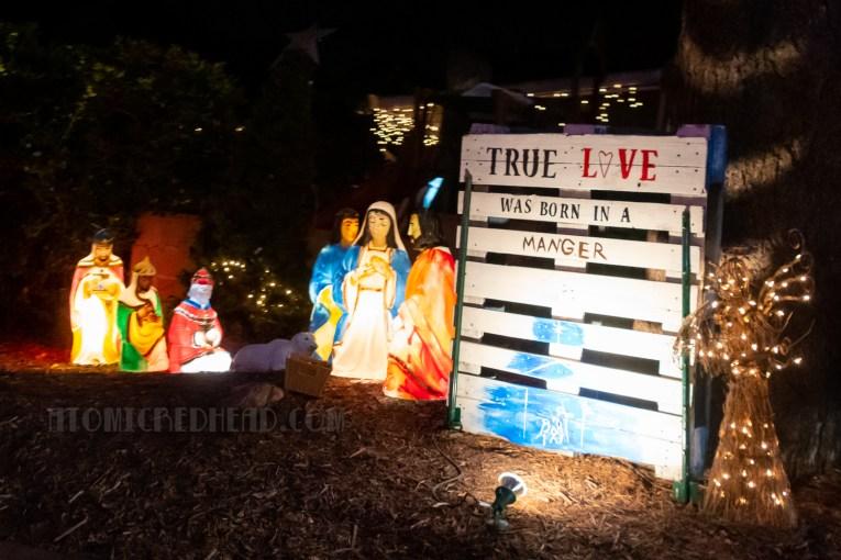 A blow mold nativity scene.