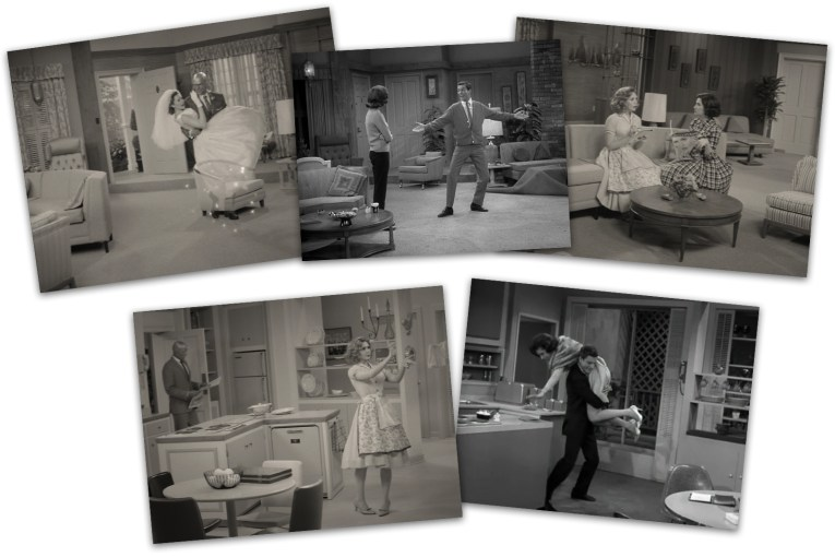 A collage of five images. At the top, left to right, a screencap of the WandaVision living room, in the center a screencap from The Dick Van Dyke Show of that living room, and right another screencap from WandaVision showing its living room. Below, left a screencap of the WandaVision kitchen, and on the right a screencap of the Dick Van Dyke kitchen.