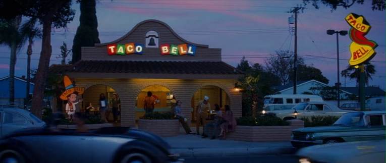The Taco Bell as it appeared in the film, with vibrate colored tile letters.