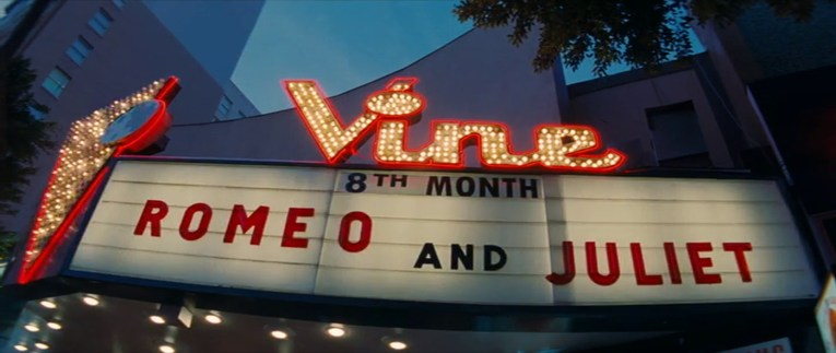 The Vine marquee lit up with Romeo & Juliet spelled out on its marquee.
