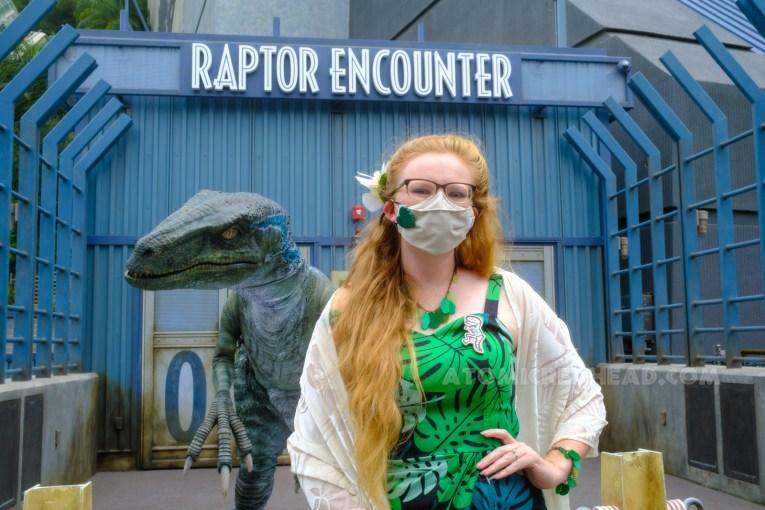 Meeting Blue, the raptor.