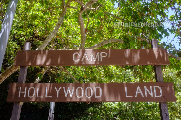 """Sign reading """"Camp Hollywood Land"""" at the start of the hike."""