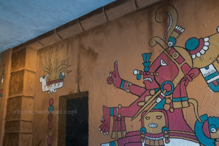 Mural of an ancient god painted in the restuarant.