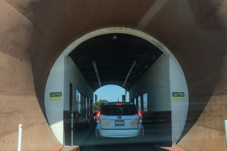 Looking into the Donut Hole, with cars in front.