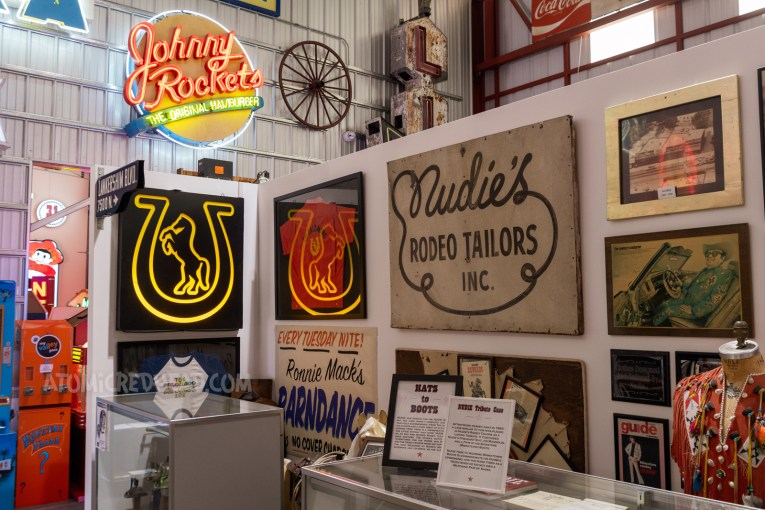 The Nudie and Palomino exhibit. Featuring signs from the Pal, Nudie's as well as framed pieces of ephemera and clothing.