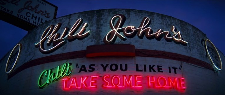 """Chili John's as it appears in Once Upon a Time in Hollywood, with glowing neon reading """"Chili John's Chili As You Like It Take Some Home"""""""