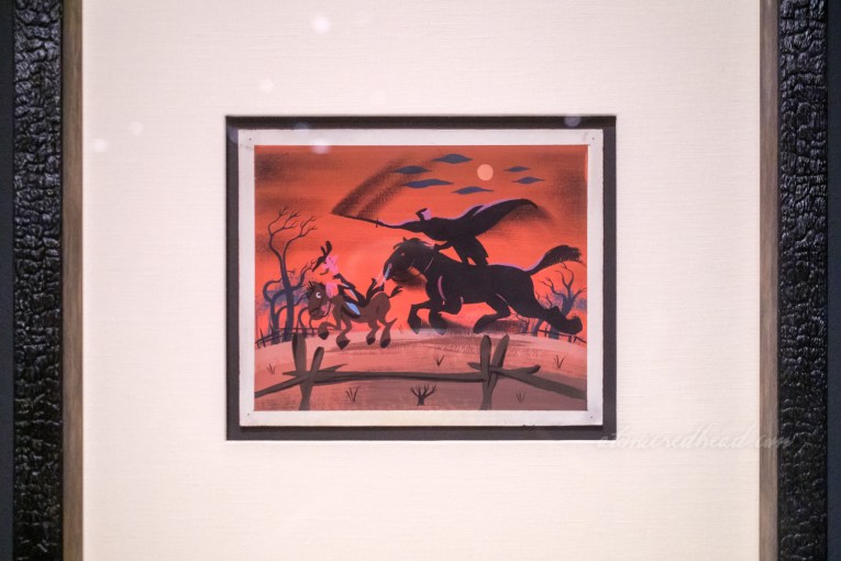 Concept art by Mary Blair from the Disney version, features the Headless Horseman on his horse chasing Ichabod through a farm landscape.