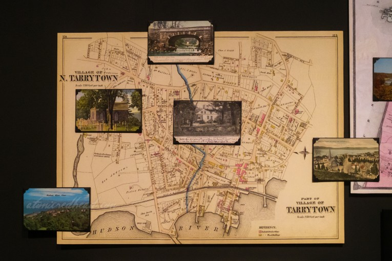 Map of the Terrytown, the original name of the area known as Sleepy Hollow, with postcards showing various landmarks.