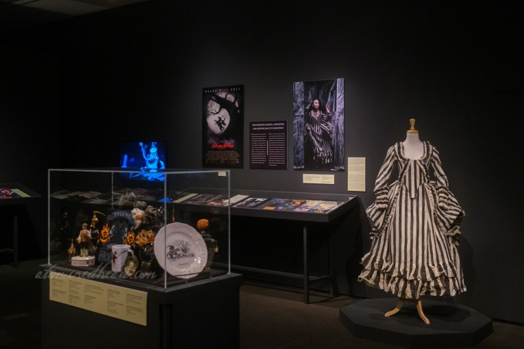 Overall of the exhibit room, painted black, features small display cases and a mannequin wearing the black and white stripe dress from Tim Burton's film.