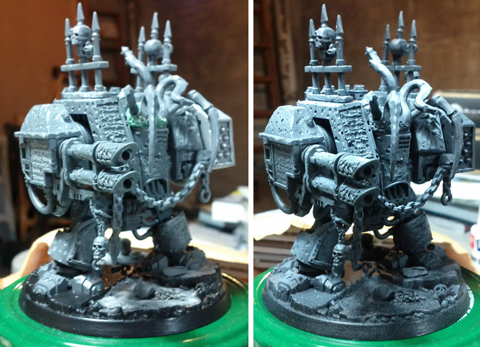 The Start of a Dreadnought and a Nurgle Daemon Prince (1/2)