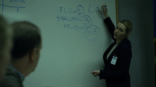 Dr. Erin Mears (portrayed by Kate Winslet) explains what R0 means.