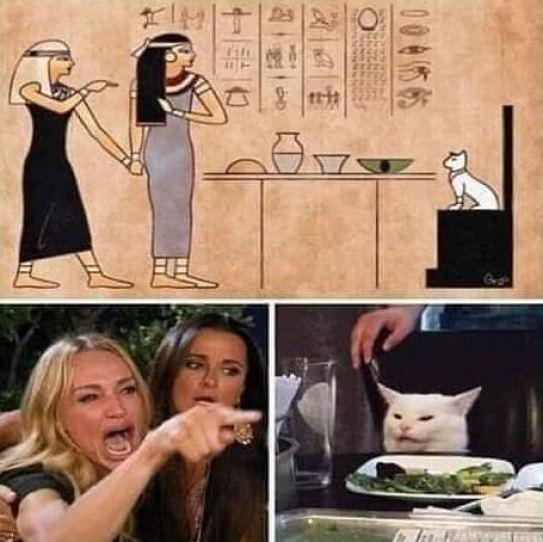 El meme egipcio jeroglífico del gato Me dijiste que