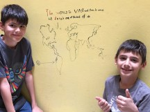 Leaving their mark in the hostel near Lima airport (Callou!).