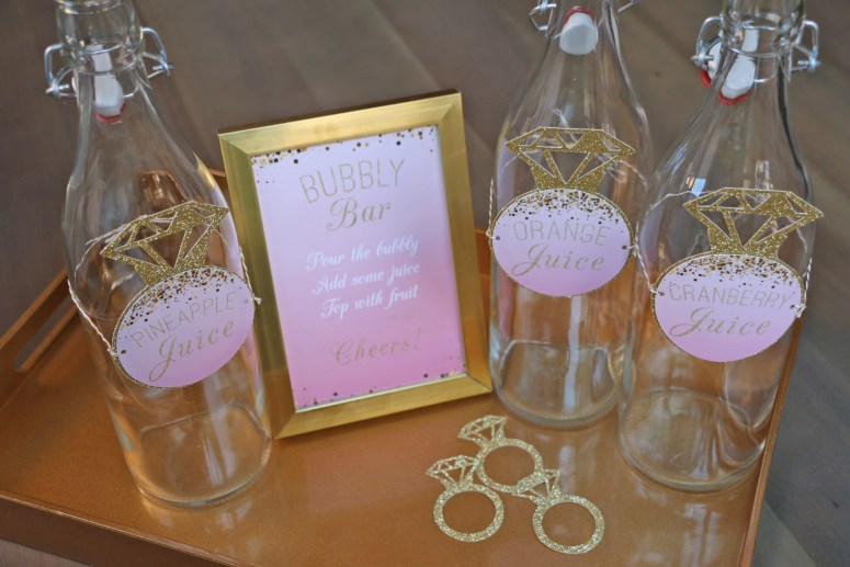 Blush Engagement Party Mimosa Bar: bridal shower bubbly bar