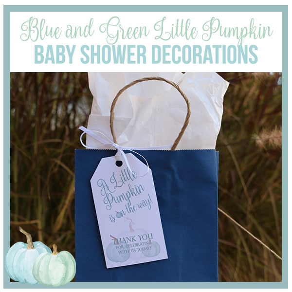 Blue and Green Little Pumpkin Baby Shower Decorations