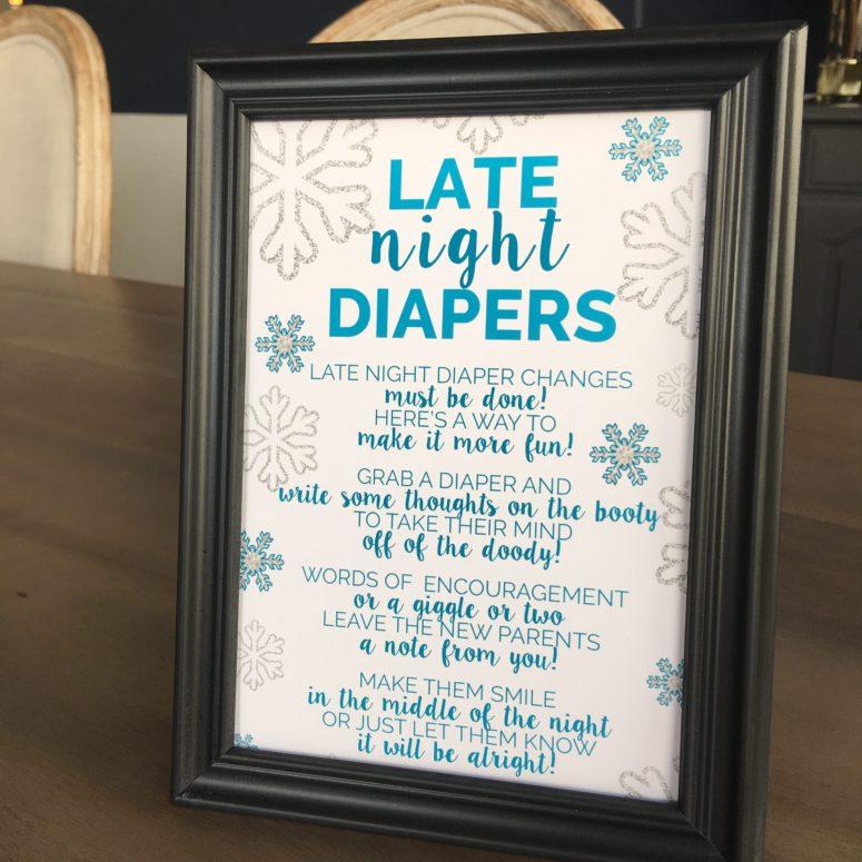 Late Night Diapers Winter Wonderland Baby Shower Game