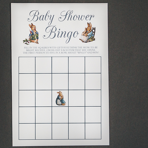 Peter Rabbit Baby Shower Bingo
