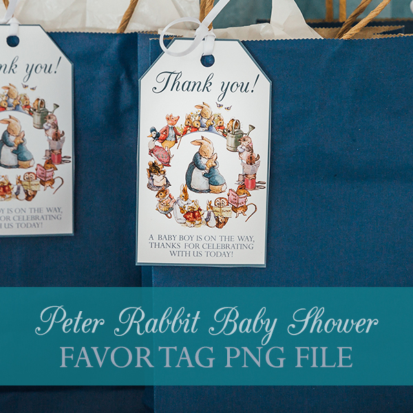 Peter Rabbit Baby Shower Favor Tag PNG