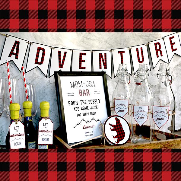 Buffalo Plaid Baby Shower Adventure Banner