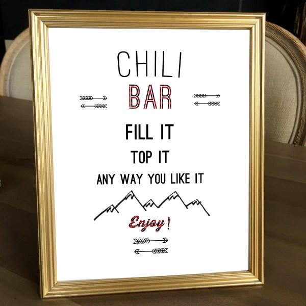 Buffalo Plaid Baby Shower Chili Bar Sign (8 x 10)