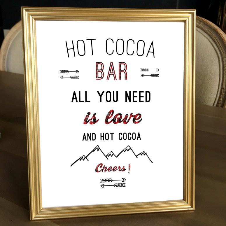 Buffalo Plaid Party Hot Cocoa Bar Sign (8 x 10)