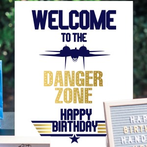 Gold and Navy Top Gun Welcome Sign Product Photo (16 x 20)