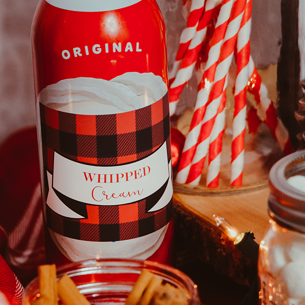 Hot Chocolate Bar Decorations: Food Labels Whipped Cream