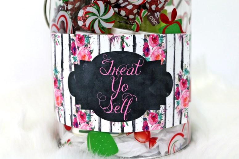 Treat Yo Self Jar Label with Flowers