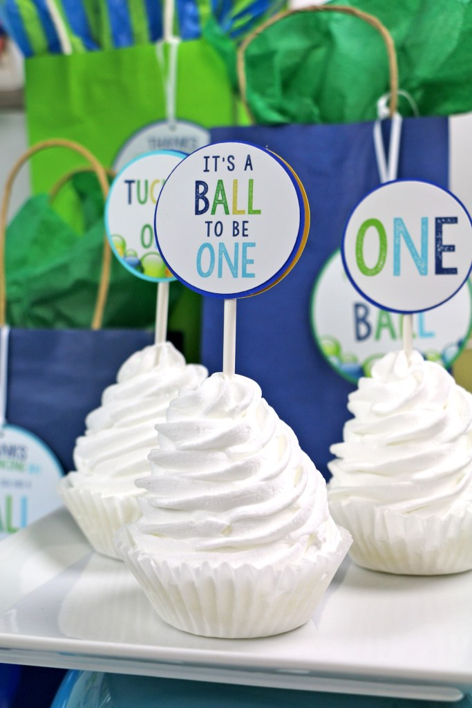 Green and blue ball party cupcake toppers: ball party decorations