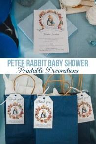 Peter Rabbit Baby Shower Printable Decorations