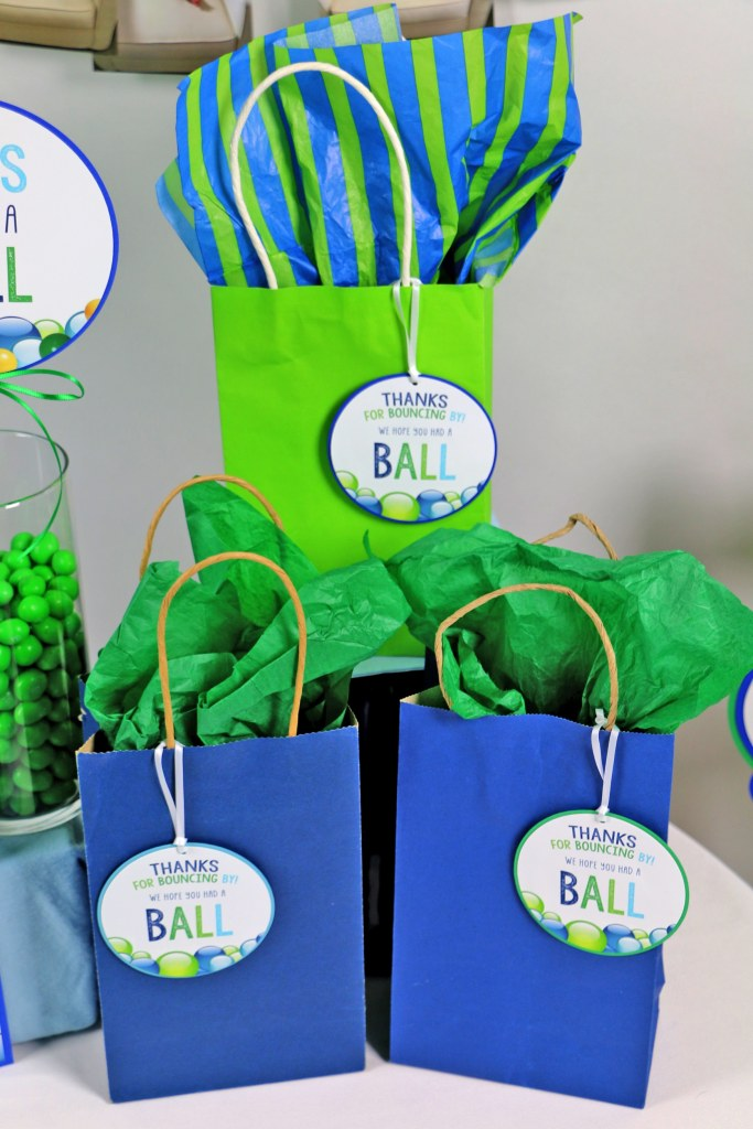 Blue and Green Bouncy Ball Party Favor Tags