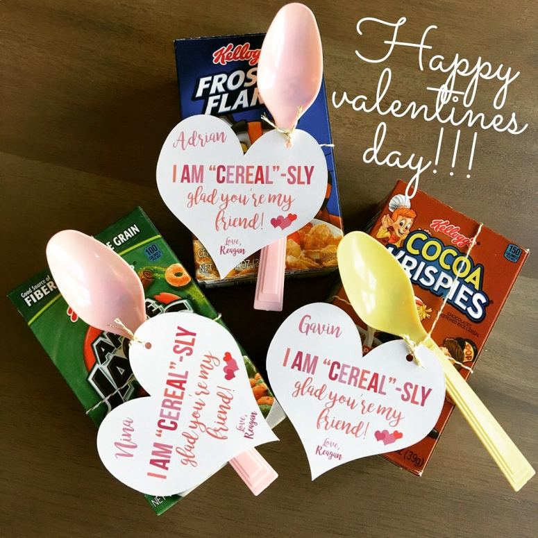 Easy Valentine Ideas: Cereal Valetines Day Tags