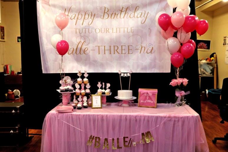 Ballerina Birthday Party Table Setup