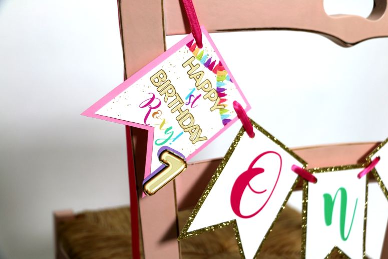Rainbow Party Chair Sign