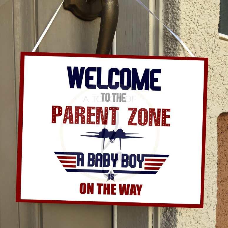 Top Gun Baby Shower Welcome Sign 8 x 10