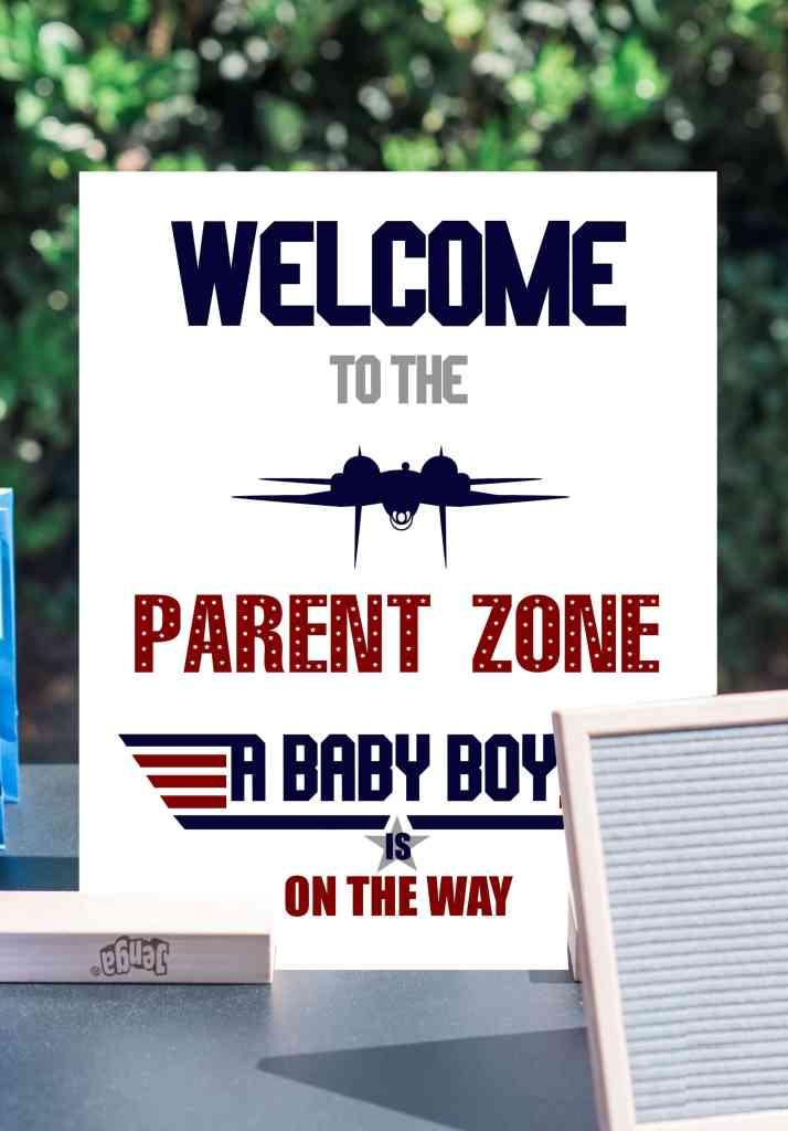 Top Gun Baby Shower Welcome Sign