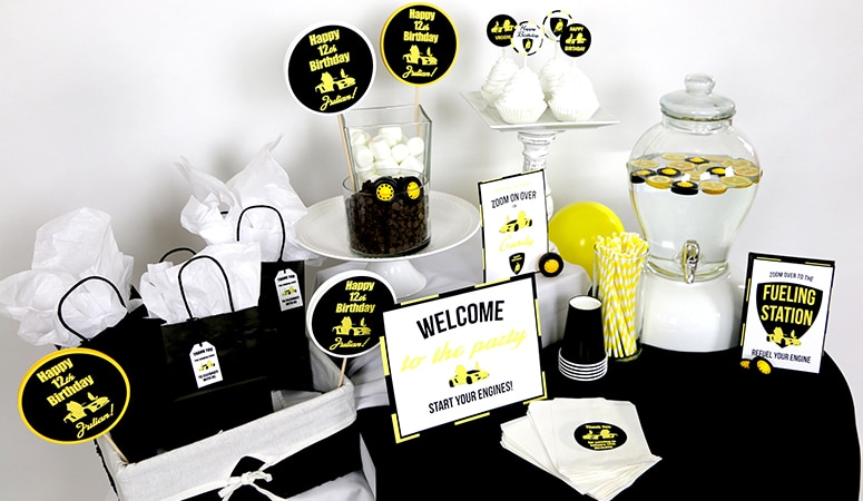 Yellow Luxury Car Party Supplies and Ideas