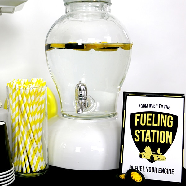 Yellow and black Supercar Party Drink Station Sign
