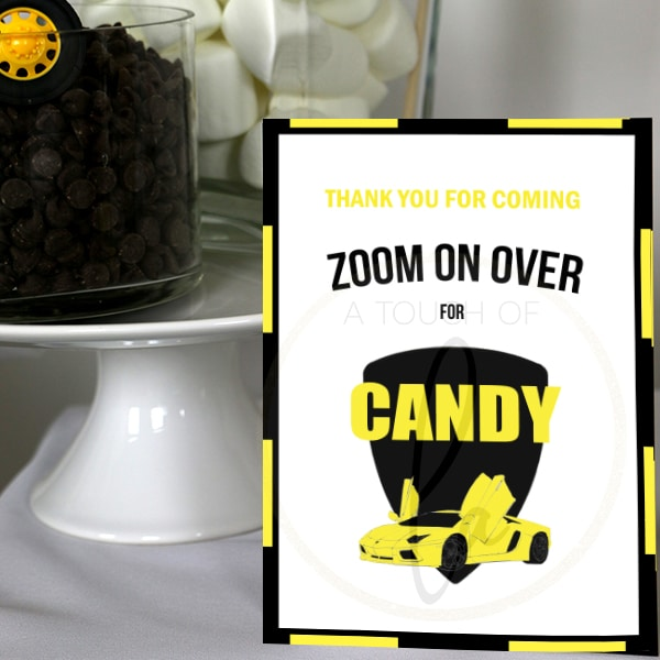 Yellow and black Luxury Car Party Candy Bar Sign