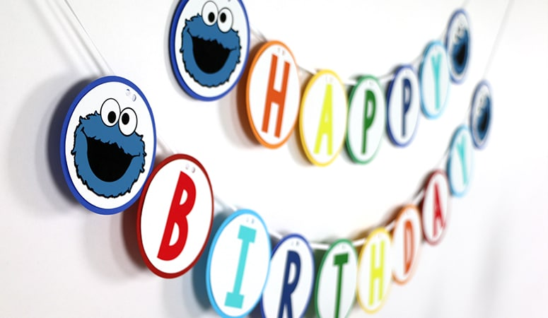 Cookie Monster Birthday Party Happy Birthday Banner